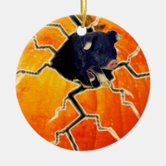 Pumpkin Pig Ceramic Ornament