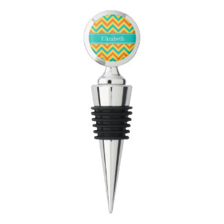 Pumpkin Pineapple Teal LG Chevron ZigZag Monogram Wine Stopper