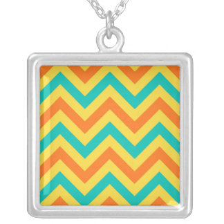 Pumpkin, Pineapple, Teal LG Chevron ZigZag Pattern Square Pendant Necklace
