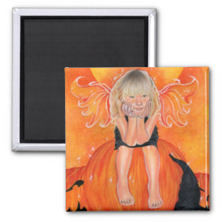 pumpkin pixie witch square magnet
