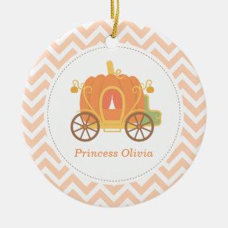 Pumpkin Princess Carriage Girls Room Decor Round Ceramic Decoration