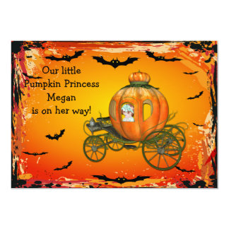 Pumpkin Princess Halloween Girl Baby Shower 13 Cm X 18 Cm Invitation Card