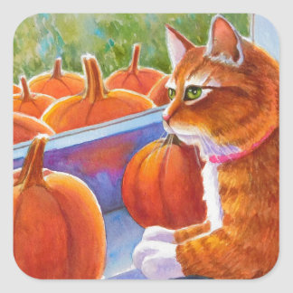Pumpkin, Pumpkin Cat Square Sticker
