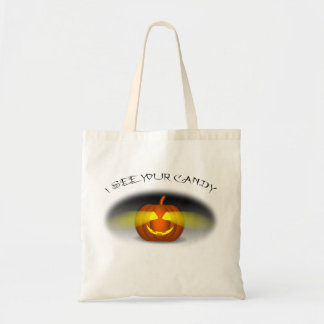 Pumpkin Sees Your Candy - Kids Trick or Treat Budget Tote Bag