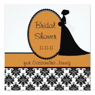 Pumpkin Silhouette Bride Bridal Shower Invitation