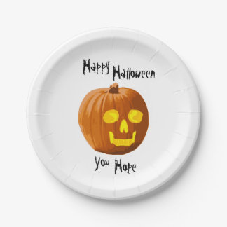 Pumpkin Skull: Happy Halloween - You Hope Paper Plate