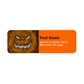 Pumpkin Smile Halloween Label Orange Return Address Label