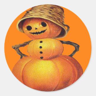 Pumpkin Snowman Classic Round Sticker