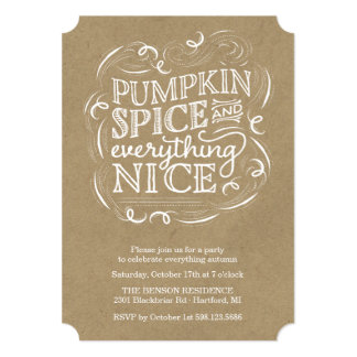 Pumpkin Spice Autumn Fall Party Invitation