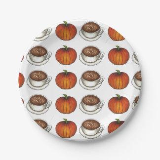Pumpkin Spice Coffee Latte Autumn Pumpkins Plate
