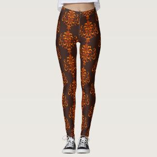 Pumpkin spice damask on choclate brown leggings