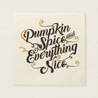 Pumpkin spice & everything nice disposable serviette