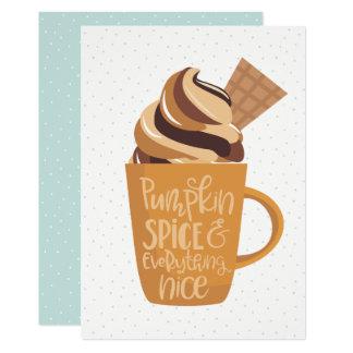 Pumpkin Spice & Everything Nice Latte Thanksgiving Card