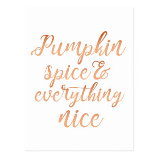 Pumpkin spice & everything nice postcard