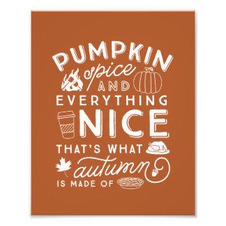 Pumpkin Spice Typographic Autumn Art Print