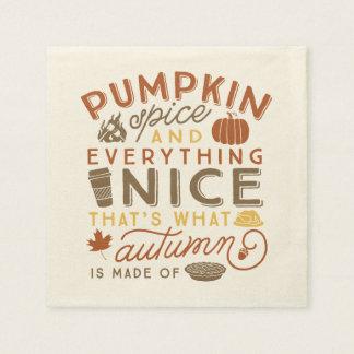 Pumpkin Spice Typographic Autumn Cocktail Napkin Paper Napkins