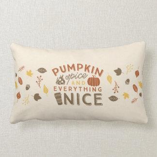 Pumpkin Spice Typographic Autumn Home Decor Lumbar Cushion