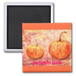 pumpkin time slogan square magnet