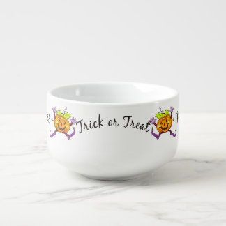 Pumpkin Trick or Treat Soup Bowl With Handle