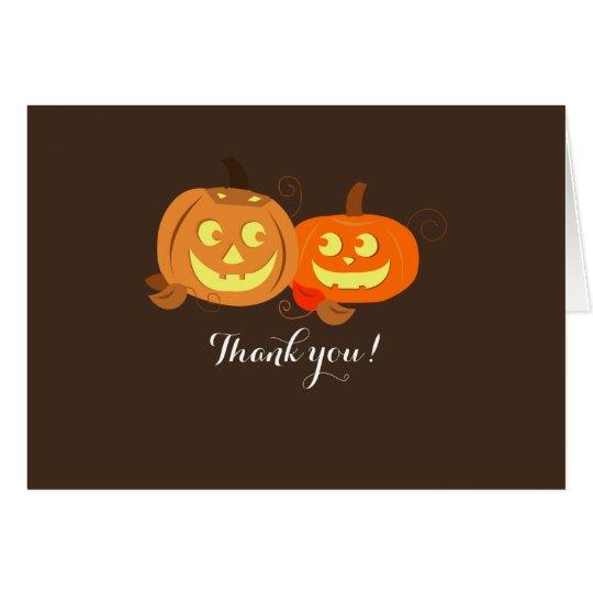 Pumpkin Wedding Couple Thank you Note Card
