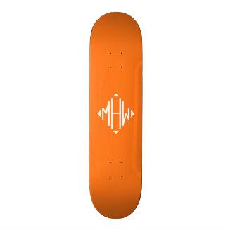 Pumpkin White 3 Initials Diamond Shape Monogram Custom Skate Board