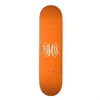 Pumpkin White 3 Initials Vine Script Monogram Skateboard Decks