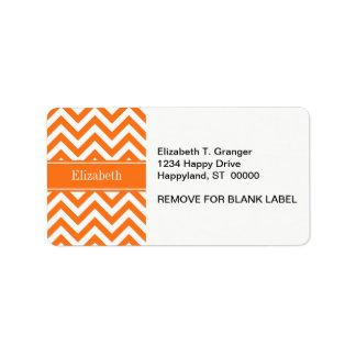Pumpkin White Chevron, Pumpkin Name Monogram Address Label