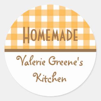 Pumpkin white gingham homemade food label seal round sticker