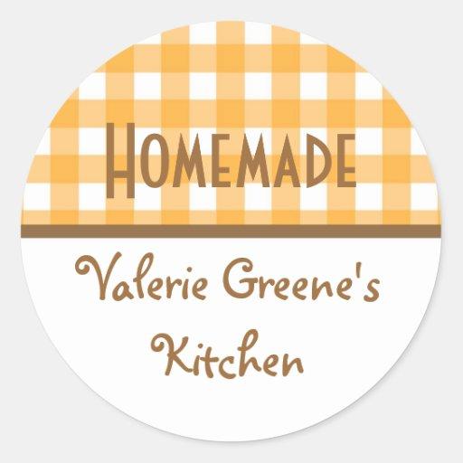 Pumpkin white gingham homemade food label seal sticker