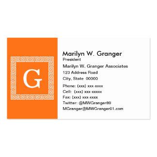 Pumpkin, White Greek Key #1 Framed Monogram Pack Of Standard Business Cards