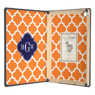 Pumpkin White Moroccan #5 Navy 3 Initial Monogram Case For iPad Air