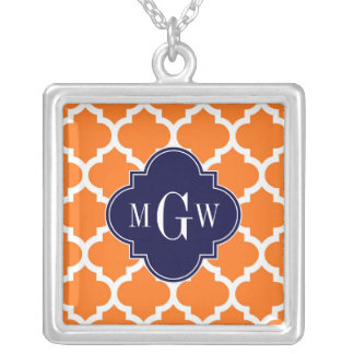 Pumpkin White Moroccan 5 Navy 3 Initial Monogram Jewelry