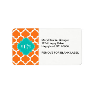 Pumpkin White Moroccan #5 Teal 3 Initial Monogram Address Label