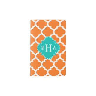 Pumpkin White Moroccan #5 Teal 3 Initial Monogram Pocket Moleskine Notebook