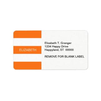 Pumpkin Wht Horiz Preppy Stripe #3 Name Monogram Address Label