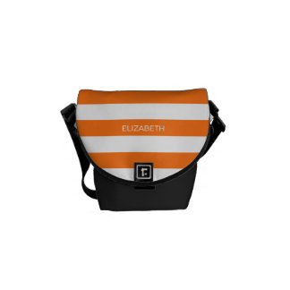 Pumpkin Wht Horiz Preppy Stripe #3 Name Monogram Commuter Bags