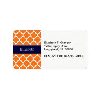 Pumpkin Wht Moroccan #5 Navy Blue Name Monogram Address Label