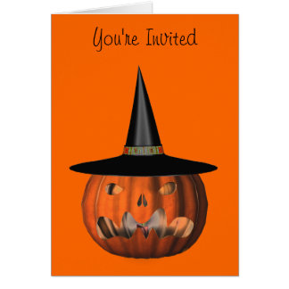 Pumpkin Witch Hat Halloween Party Invitation Note Card