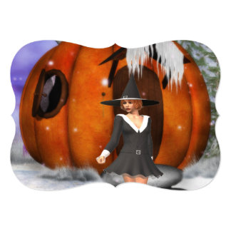 Pumpkin Witch Personalized Invitations