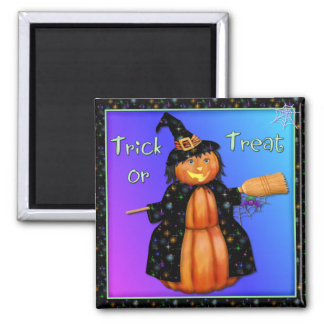 Pumpkin Witch Square Magnet