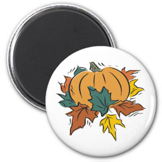 Pumpkin With Fall Leaves 6 Cm Round Magnet