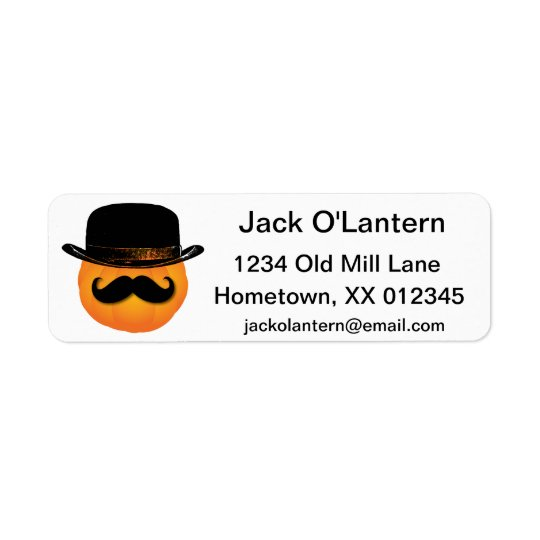 Pumpkin with moustache and hat label