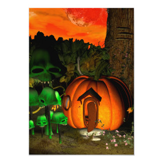 Pumpkin with skull and mushrooms 5x7 paper invitation card