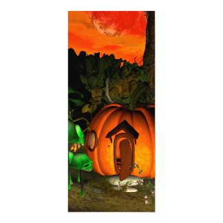 Pumpkin with skull and mushrooms 4x9.25 paper invitation card