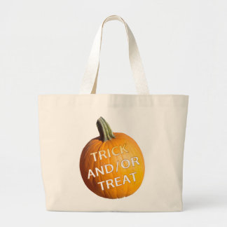 Pumpkin with Trick and/or Treat on it Canvas Bags
