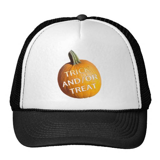 Pumpkin with Trick and/or Treat on it Hats