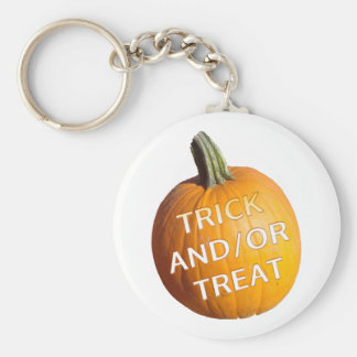 Pumpkin with Trick and or Treat on it Key Chain