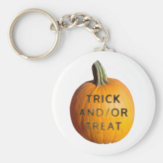Pumpkin with Trick and/or Treat on it Keychain