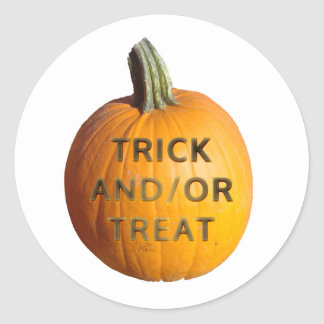Pumpkin with Trick and or Treat on it Stickers