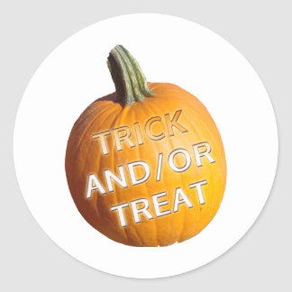 Pumpkin with Trick and or Treat on it Sticker